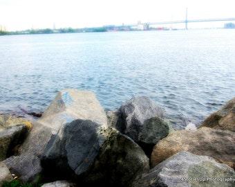Penn Treaty Park Shoreline, Nature Photography Digital Download, DIY Home Decor, Waterfront Philadelphia, Delaware River, Instant Download