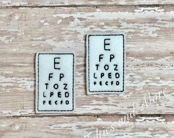 Eye Chart Feltie, Eye Chart Felties, Eye Test Feltie, Optometrist Feltie, Medical Feltie, Doctor Feltie, Health Felties, Set of 2