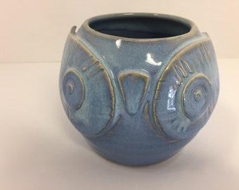 Hand Made Wheel Thrown Pottery Ceramic Owl Bud Vase