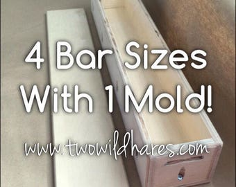 8lb SOAP MOLD, 4 Bar Sizes From 1 Mold Including Tall & Skinny, Heavy Duty, Hardwood, XL Loaf Mold, Handmade Only For Two Wild Hares!