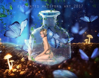 fairy in a bottle with blue butterflies art print
