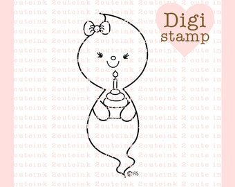 Cupcake Ghost Digital Stamp - Halloween Birthday digital art for - Card Making - Paper Crafts - Scrapbooking - Stickers - Coloring Pages