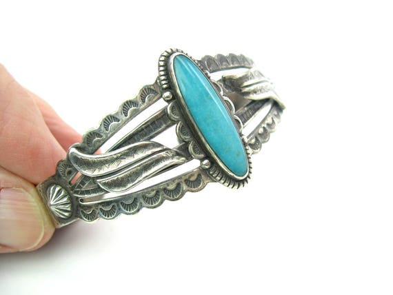 Vintage Bell Trading Post Navajo Style Turquoise Sterling Silver Cuff Bracelet