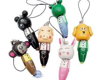 Mini kids school wooden ballpoint pen phone charm keychain