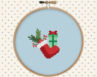 Christmas boot cross stitch pattern - easy cross stitch pattern pdf - winter counted cross stitch - instant download - beginner cross stitch