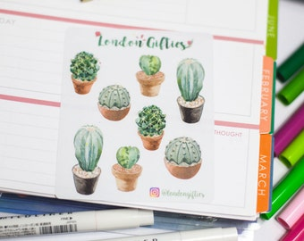 Cacti - decorative watercolour planner stickers suitable for any planner -268-