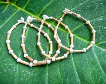 Kauai Bamboo Jewelry - Hawaiian Bamboo and Pearl Anklet