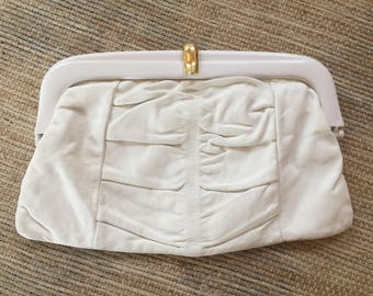 Vintage White Leather Clutch purse  with Gold Clasp (Made in Italy)