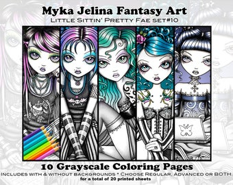 Gothic Coloring Pages For Adults : Set adult coloring pages gothic fairy myka jelina