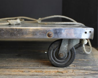 Industrial Stainless Steel Utility Cart // Steampunk Decor // Rolling Flat Dolly // Distressed Wood