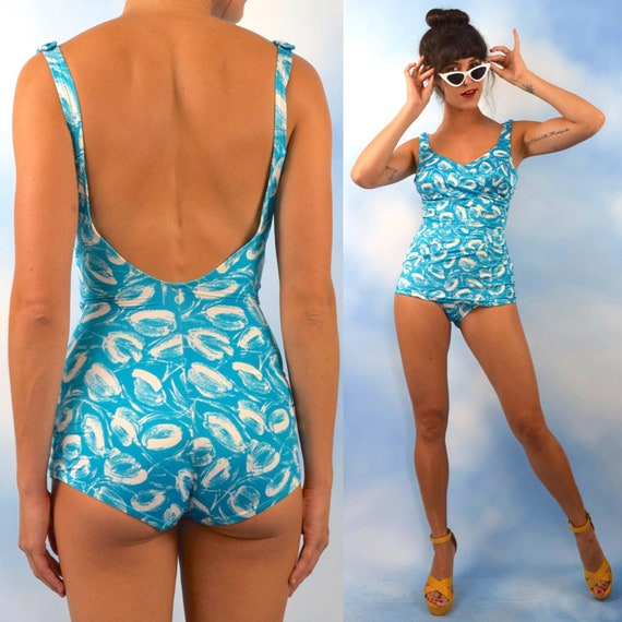 Vintage 60s 70s Abstract Tulip Print Turquoise and White Maillot (size small, medium)