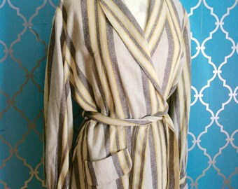 1940s Lady Esquire Original Yellow & Brown Striped Woven Wool Dressing Gown Robe