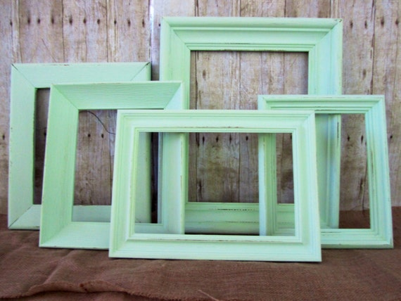 Shabby Chic Mint Green Frames Distressed frames Set of 5