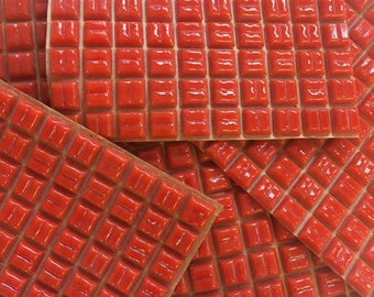 "A96 Tomato Red 3/8"" -100pc//red orange tile//discount tile"