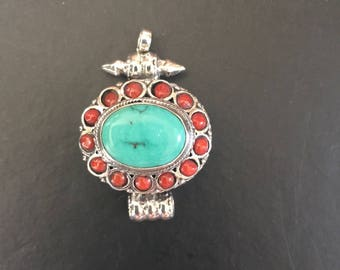 Green & Red Turquoise in Sterling Silver Pendant