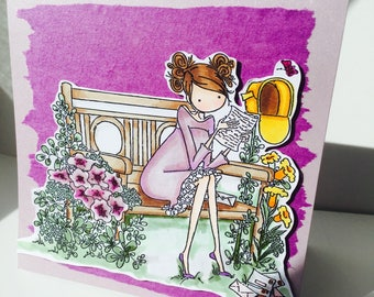 "feminine card ""Violette reading his mail"""