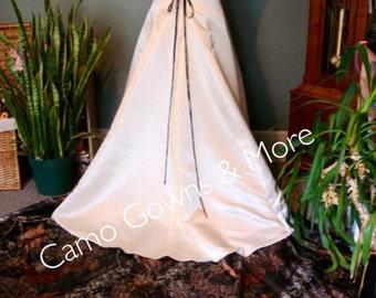 CAMO Wedding Dress with Peek-A-Boo Camo Hemline & Train