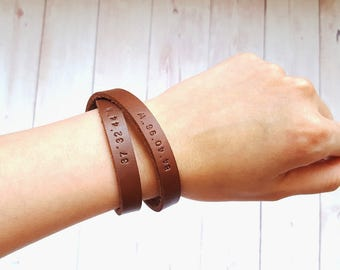 Personalized Leather Bracelet (Double Wrapped)