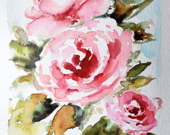 Original Watercolor Flower Painting, Rose Painting, Pink Red Roses 6x8 Inch