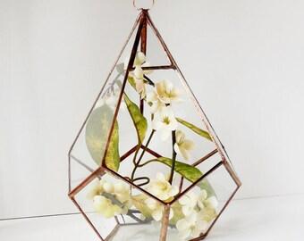 Large Hanging Terrarium, Geometric Glass Terrarium for Indoor Gardening, Geometric Teardrop Shape, Plant holder.