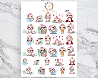 Sampler, Lexie the Sloth Stickers, Planner Stickers