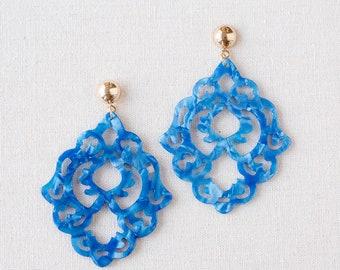 Large Blue Resin Hamsa Earrings, Hamsa Post Earings, Statement Earrings, Hamsa Jewelry