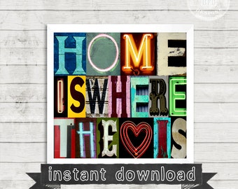 HOME PRINTABLE, Home Is Where The Heart Is, Home, Love, heart, Vintage letters, Alphabet Photography, Photography, Instant Download