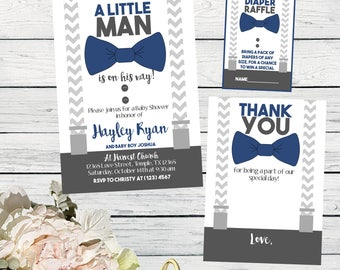 Little Man Baby Shower Invite-White, Navy Blue & Grey ***Digital File*** (Baby-bowtieNAVY)