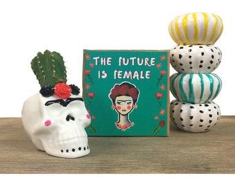 Frida Kahlo, girl power, frida, the future is female, succulent planter, frida kahlo poster, feminism, succulent pots, ceramic planter
