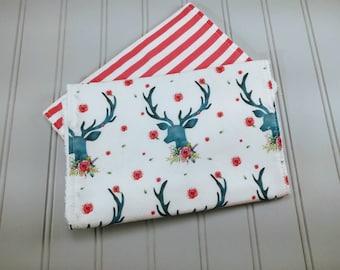 Deer Burp Cloths   Floral Deer Burp Cloths   Baby Burp Cloths   Burp Rags   Baby Gifts