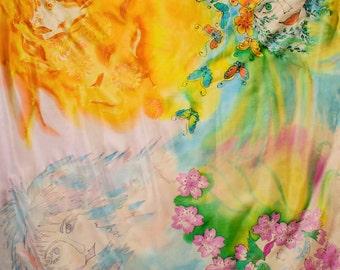 "Seidenmalerei.Unikat."" Seasons"". Ponge. 90x90cm"