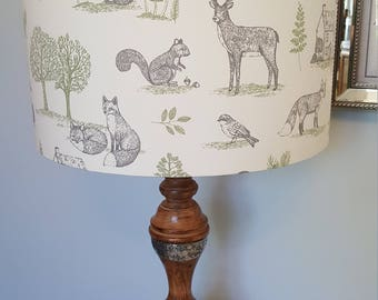 Forest Animal Print Drum Lampshade - handmade lamp shades in 3 sizes!
