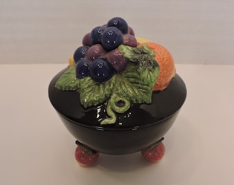 Fitz and Floyd Multi-color Fruit Sugar Bowl