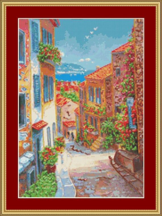 Colourful Street Cross Stitch Pattern /Digital PDF Files /Instant downloadable