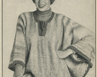 Ladies Poncho and hat knitting  pattern. Instant PDF download!