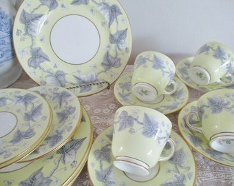 VINTAGE WEDGEWOOD LUNCH set, 16 piece yellow and gray bone china set includes teacups, lunch and side plates, excellent condition