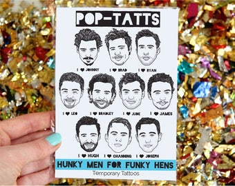 Hen Party Tattoos - Temporary Transfer- Hunky Men For Funky Hens - 10 famous men to choose from! Great as gift bag or piñata fillers.