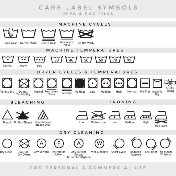 Care Label Clip Art Laundry Symbols Clipart Textile Care Laundry