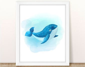 PRINTABLE Watercolor Whale Art Print, Sea Animal Art, Sea Animal Nursery Print, Marine Nursery, Ocean Nursery Wall Art, Whale Nursery Print