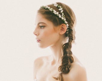 Bridal Flower Headpiece, White flower crown, Wedding crown, Bridal hair accessory, white and green headpiece, Double floral wreath - SPARROW