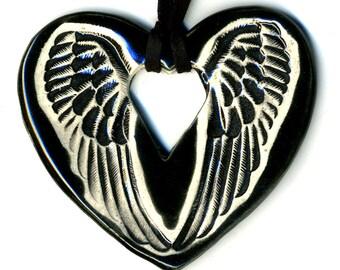 Angel Wings Ceramic Necklace in Black