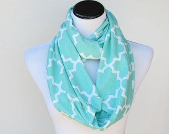 Teal scarf, robin egg color scarf Quatrefoil infinity scarf teal ice green soft jersey knit loop scarf circle scarf gift for women and girls
