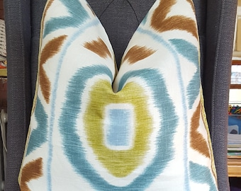 Kravet, Blue Ikat Pillow Cover, Brown, Chartreuse, Decorative Pillow Cover, Throw Pillow, Toss Pillow, Home Decor, Home Furnishing