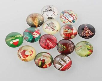 10 Christmas Xmas Round Glass Cabochons Flat Back Jewellery Making 25mm (065)