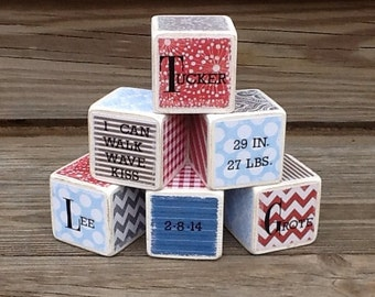 1st Birthday Block Set - set of 6 - red, blue and gray