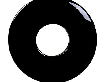 g3241  Black agate donut pendant focal bead 50mm