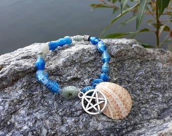 "Bracelet ""Sea Foam"" from recycled plastic bottles, Pentagram Charm"