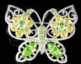 Swarovski Crystal Dainty Green BUTTERFLY Bridal Wedding Spring Pin Brooch Jewelry Best Friend Mother's Day For Her Christmas Gift Cute New