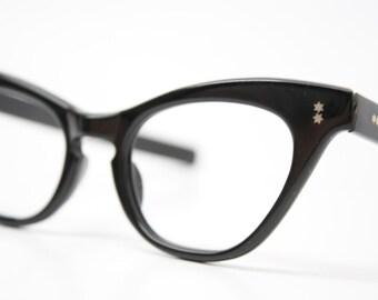 Vintage Eyewear Large Black Cat Eye Glasses Unused Cat Eye Eyeglasses