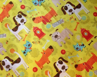 "Doggy bandana: yellow with dogs and dog ""things"" 28"""